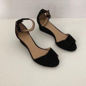 J.Crew Black Suede Wedge Sandals Size 7